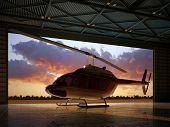 pic of rescue helicopter  - Civilian helicopter in the hangar - JPG