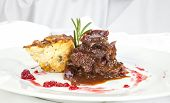 stock photo of roebuck  - Venison ragout with potato celeriac mix and rosemary - JPG