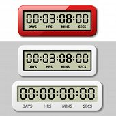 image of countdown  - vector LCD counter  - JPG
