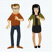 image of animated cartoon  - Cartoon man and women - JPG