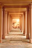 stock photo of arcade  - Spiritual fantasy scene with a passageway surrounded by pillars leading to Heaven - JPG