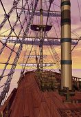 stock photo of sloop  - View of an old merchant ship deck with furled sails by sunset - JPG