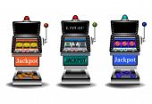 stock photo of gambler  - Three slot machines isolated on a white background - JPG