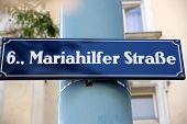 Street Sign At Mariahilferstrase In Vienna, Austria