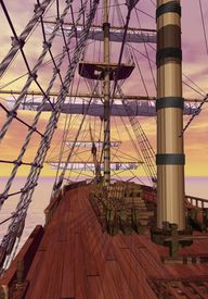 image of sloop  - View of an old merchant ship deck with furled sails by sunset - JPG