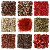stock photo of peppercorns  - Assortment of peppercorns and chili  isolated on white background - JPG