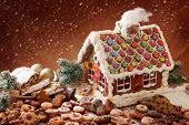 foto of gingerbread house  - Homemade gingerbread house and christmas cakes - JPG