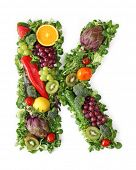 Fruit and vegetable alphabet - letter K