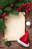 stock photo of letters to santa claus  - Letter for santa with old parchment and santa hat - JPG