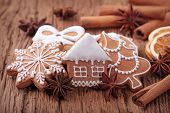 stock photo of gingerbread house  - Gingerbread cookies and spices - JPG