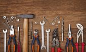 stock photo of pliers  - Set of different tools on wooden background - JPG