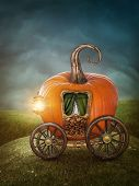 stock photo of cinderella coach  - Pumpkin carriage on the meadow - JPG