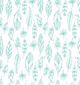 Hand Drawn Blue Leathers Seamless Pattern