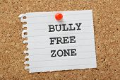 image of school bullying  - The words Bully Free Zone typed on a scrap of lined paper and pinned to a cork notice board - JPG