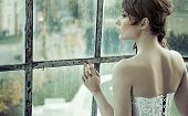 foto of bridal veil  - Young beautiful bride - JPG