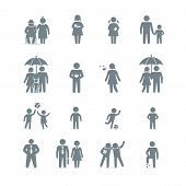 stock photo of grandmother  - Vector icons of family friends and work - JPG