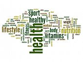 High resolution concept or conceptual abstract health word cloud or wordcloud on white background