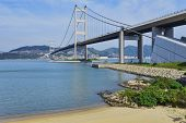 stock photo of tsing ma bridge  - hong kong bridge - JPG