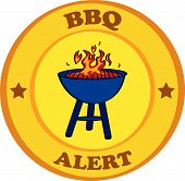 foto of barbecue grill  - Cartoon vector illustration of a barbecue grill with the words BBQ Alert around - JPG