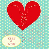 Kissing Couple In Love Heart Valentines Day Greeting Card Trendy Retro Colors Romantic Relationship