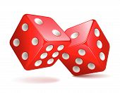 stock photo of dice  - Vector illustration of red dices rolling over white - JPG