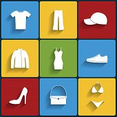 stock photo of outerwear  - Clothes flat vector icons set - JPG