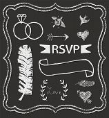 picture of laurel  - Chalkboard Wedding graphic set arrows hearts laurel feather ribbons rings and labels - JPG