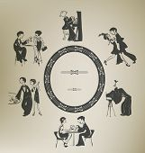 image of cabaret  - Set of characters in vintage party activities - JPG