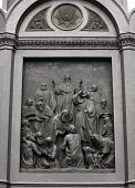 stock photo of baptism  - Sculptural decoration pedestal  - JPG