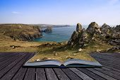 Creative Concept Pages Of Book Kynance Cove Cliffs Looking Across Bay