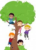 pic of playmate  - Illustration of Kids Hanging from a Tree - JPG