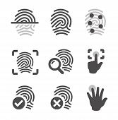 picture of fingerprint  - Simple set of fingerprint related vector icons for your design - JPG