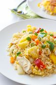 pic of thai cuisine  - Thai food fried rice with chicken pineapple and sweet pepper - JPG