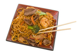 pic of thai food  - Delicious Stir Fry Noodle combination isolated over white background - JPG