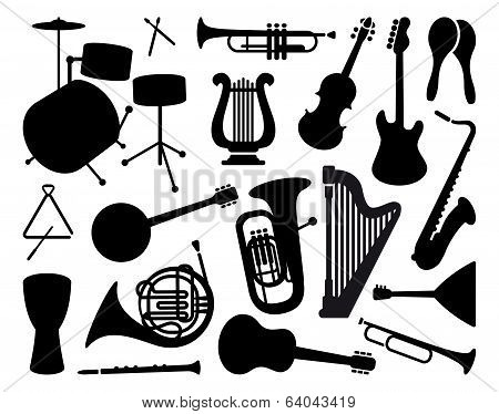 Silhouettes of musical instruments poster