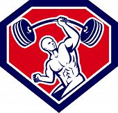image of strongman  - Illustration of a weightlifter lifting barbell with one hand set inside shield crest shape on isolated background viewed from front done in retro style - JPG