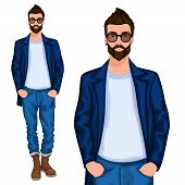 pic of goatee  - Young handsome casually dressed hipster geek guy with modern haircut in jeans vector illustration - JPG