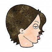 image of raised-eyebrow  - cartoon woman raising eyebrow - JPG