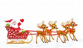 stock photo of santa sleigh  - Cartoon illustration of Santa Claus in his sleigh - JPG