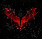 stock photo of art gothic  - Red Dragon wings - JPG