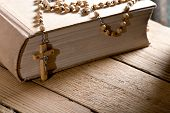 image of prayer beads  - still life with bible and prayer beads - JPG