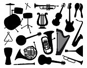 stock photo of saxophones  - VEctore image silhouettes of various musical instruments - JPG