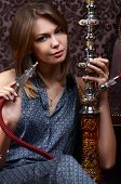 picture of hookah  - The beautiful sensual woman with a hookah - JPG