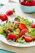 stock photo of rocket salad  - Strawberry with Walnut and Rocket salad by Balsamic dressing - JPG