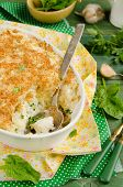 stock photo of mashed potatoes  - Fish pie baked with dorado - JPG