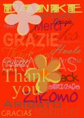 picture of thank you card  - Thank you card with flowers over red - JPG