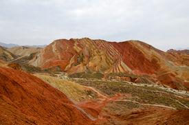 image of landforms  - Zhangye Danxia landform located in Linze County - JPG