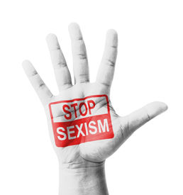 pic of sluts  - Open hand raised Stop Sexism sign painted multi purpose concept  - JPG