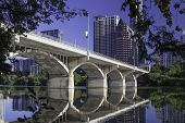 image of bridge  - This is Congress Bridge in Austin on the east side of bridge on the south side of the river looking downtown - JPG