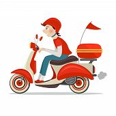 picture of scooter  - Delivery person on retro scooter fast service icon isolated on white background vector illustration - JPG